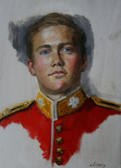 portrait oil study of an archduke in the army from life sitting