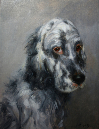 portrait in oil of an English setter