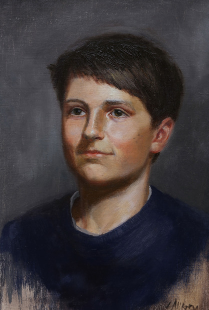 oil portrait painting commission artist's friend's son