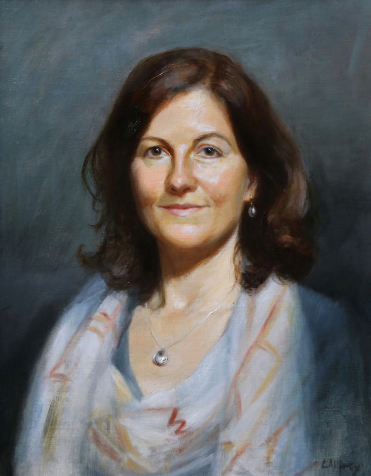 portrait painting in oil commission to commemorate special birthday of a friend artist
